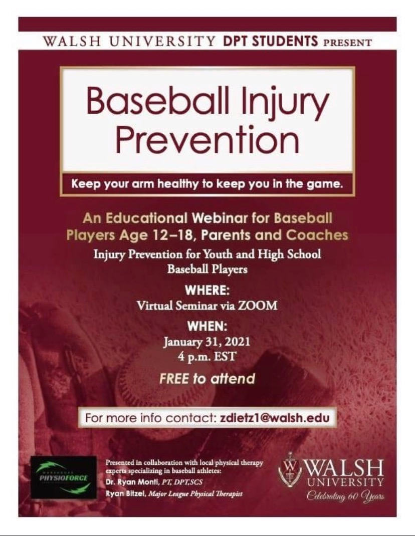 Walsh Webinar on Baseball Injury Prevention Flyer